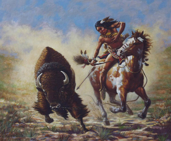 Sioux Wall Art - Painting - Buffalo Hunter by Harvie Brown