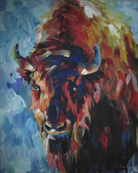 Painting - Buffalo In Blue by Susan Moore