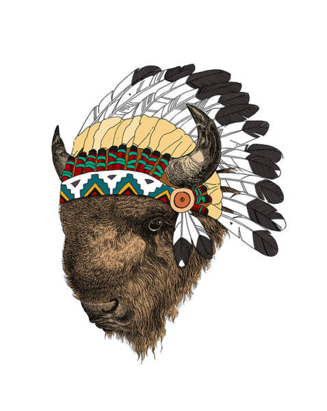 American Indian Wall Art - Digital Art - Buffalo With Indian Headdress In Color by Madame Memento