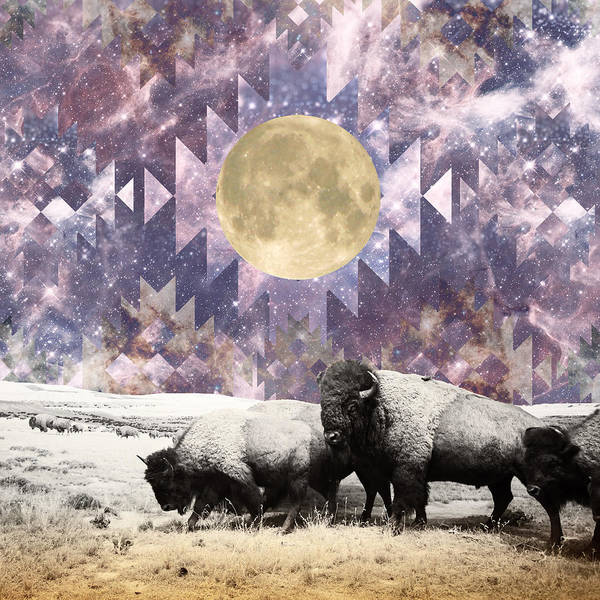 Wall Art - Digital Art - Buffalo Moonrise by Lori Menna