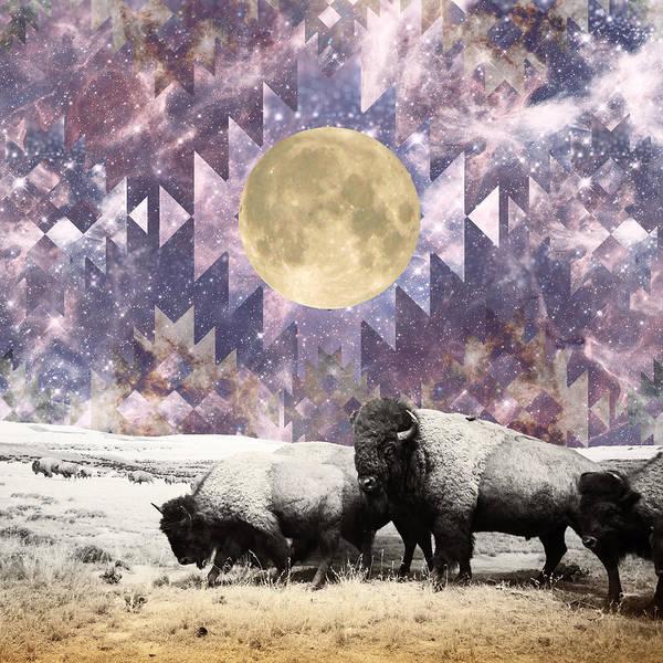 Aztec Digital Art - Buffalo Moonrise by Lori Menna