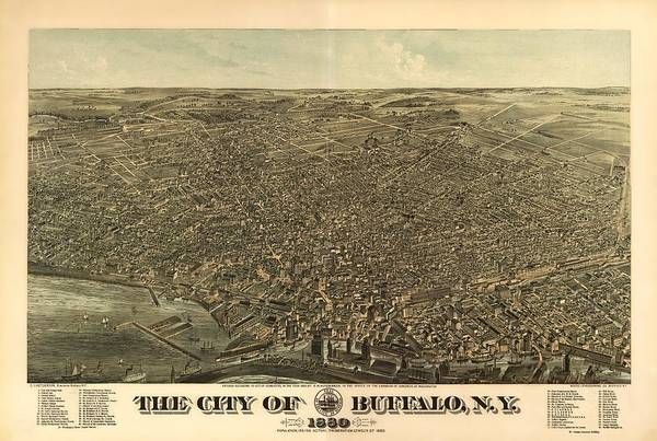 New York City Map Drawing - Buffalo N Y 1880 by Mountain Dreams