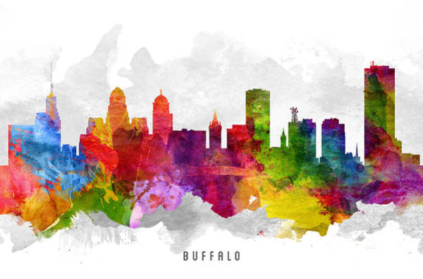 Wall Art - Painting - Buffalo New York Cityscape 13 by Aged Pixel
