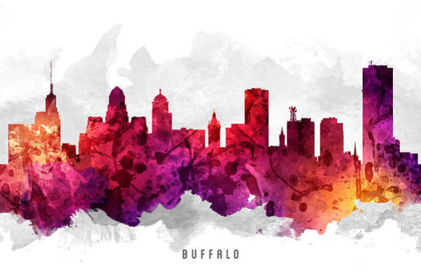 Wall Art - Painting - Buffalo New York Cityscape 14 by Aged Pixel