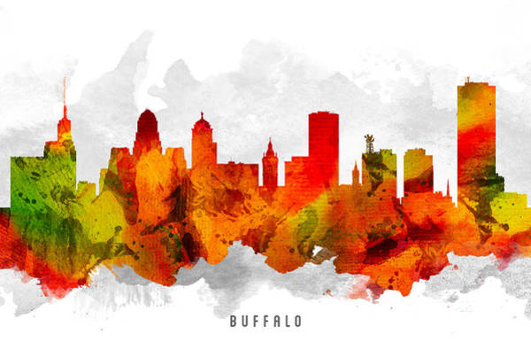 Wall Art - Painting - Buffalo New York Cityscape 15 by Aged Pixel