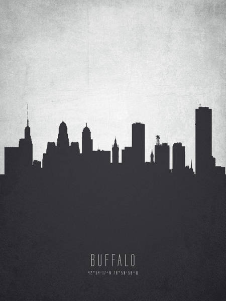 Wall Art - Painting - Buffalo New York Cityscape 19 by Aged Pixel