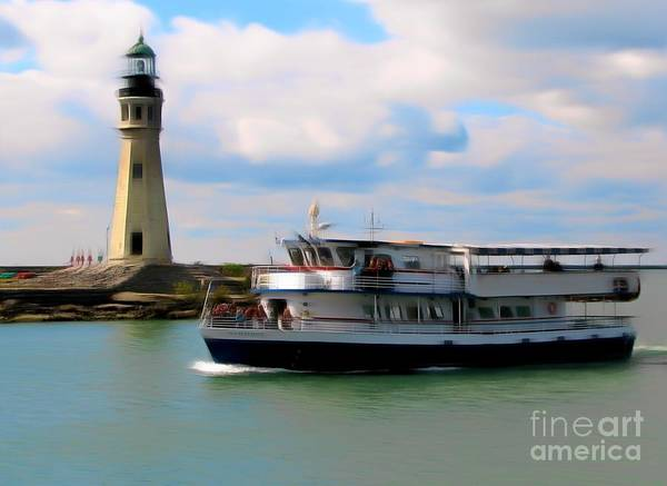 Photograph - Buffalo New York Main Lighthouse And Miss Buffalo Romantic Effect by Rose Santuci-Sofranko