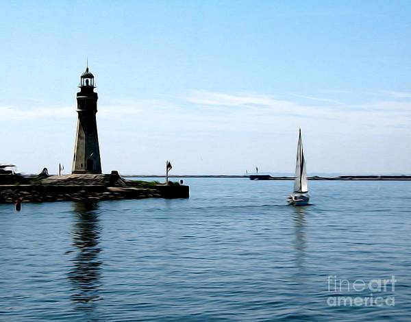 Photograph - Buffalo New York Main Lighthouse And Sailboat Soft Abstract by Rose Santuci-Sofranko