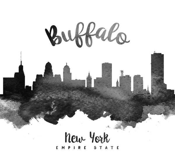 Wall Art - Painting - Buffalo New York Skyline 18 by Aged Pixel