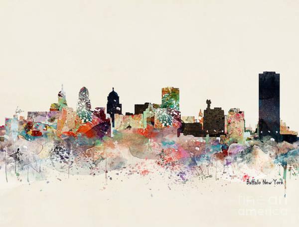 Wall Art - Painting - Buffalo New York Skyline by Bri Buckley