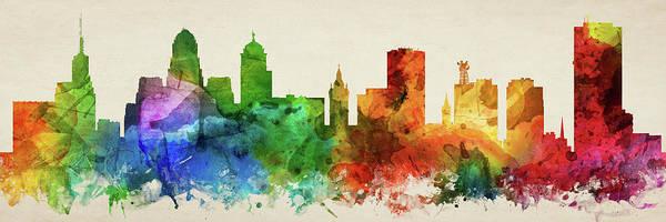 Wall Art - Digital Art - Buffalo Skyline Panorama Usnybu-pa03 by Aged Pixel