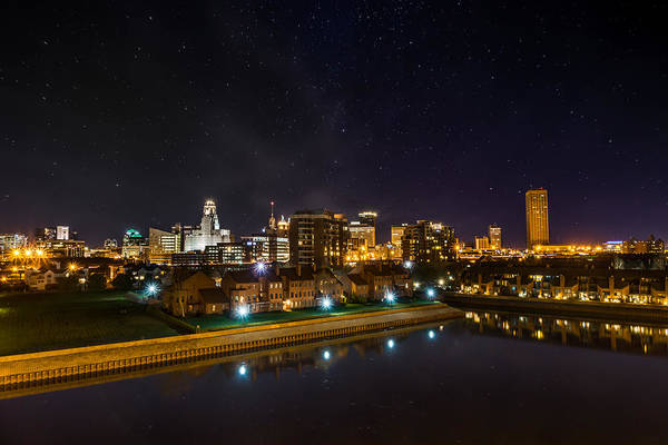 Wny Wall Art - Photograph - Buffalo Skyline Under The Stars by Chris Bordeleau