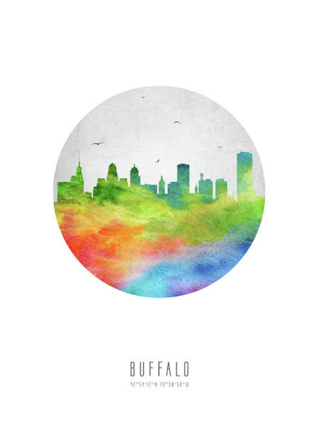 Wall Art - Digital Art - Buffalo Skyline Usnybu20 by Aged Pixel