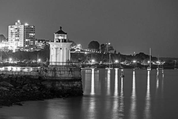 Photograph - Bug Light At Night Bug Light Park Portland Maine Black And White by Toby McGuire