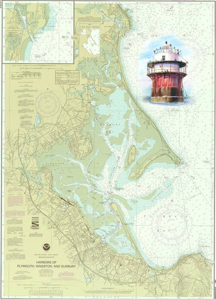 Wall Art - Painting - Bug Light On A Noaa Chart by P Anthony Visco