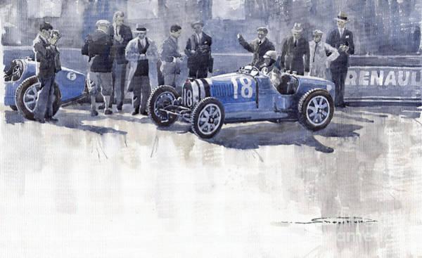 Sports Car Painting - Bugatti 35c Monaco Gp 1930 Louis Chiron  by Yuriy Shevchuk