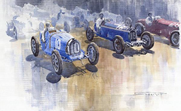 Retro Painting - Bugatti 51 Alfa Romeo 8c 1933 Monaco Gp by Yuriy Shevchuk