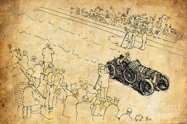 Vintage Car Drawing - Bugatti Vanderbilt Cup by Drawspots Illustrations