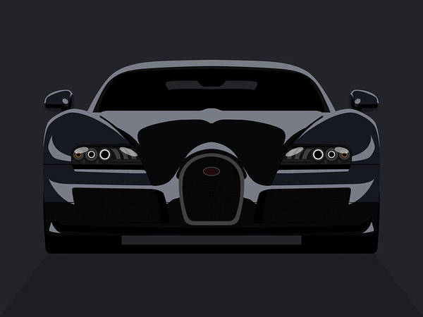 Vehicles Wall Art - Digital Art - Bugatti Veyron Dark by Michael Tompsett