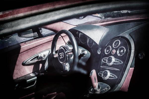 Photograph - Bugatti Veyron Legend Steering Wheel -0484ac by Jill Reger
