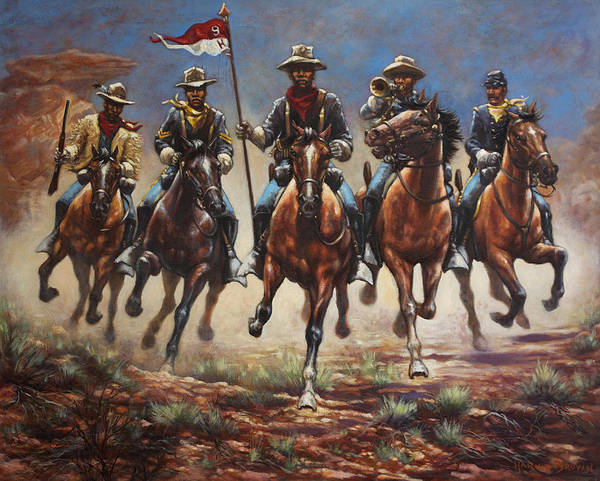 Gallop Wall Art - Painting - Bugler And The Guidon by Harvie Brown