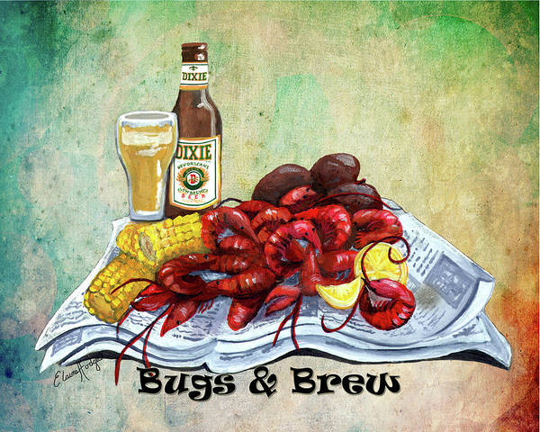 Wall Art - Painting - Bugs And Brew 2 by Elaine Hodges