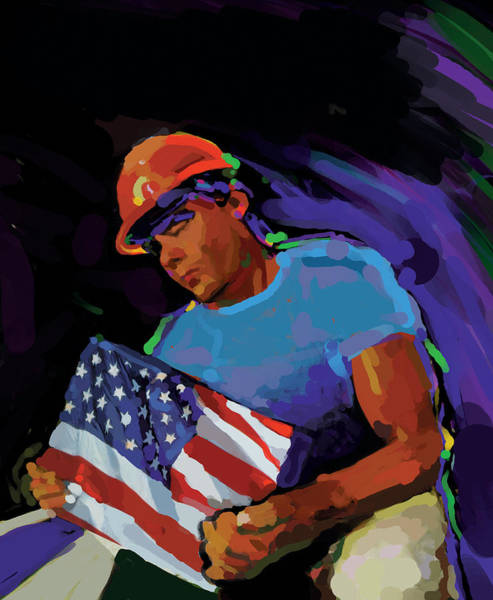 Construction Painting - Building America by Brad Burns