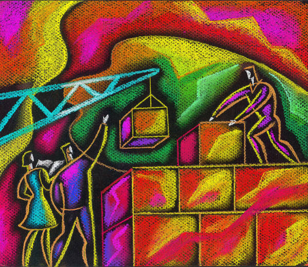 Wall Art - Painting - Building Blocks Of Success by Leon Zernitsky