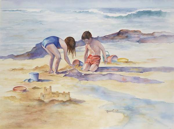 Sand Castle Painting - Building Sand Castles by Nicolina Rinaldi