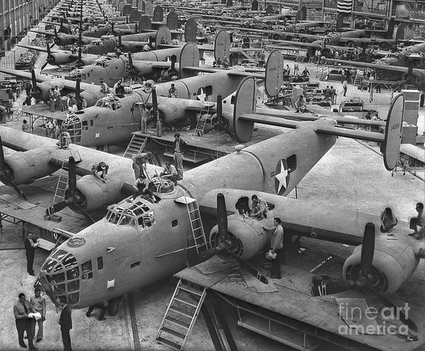 Two Birds Photograph - Building The B24 Fleet 1943 Bw by Padre Art