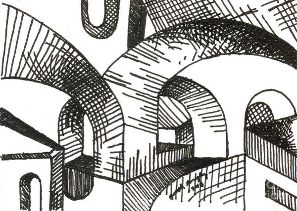 Drawing - Buildings 1 2015 - Aceo by Joseph A Langley