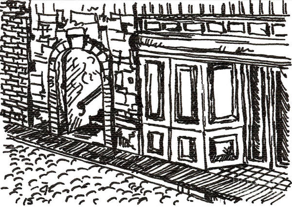 Drawing - Buildings 2 2015 - Aceo by Joseph A Langley