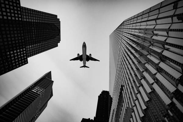 Wall Art - Photograph - Buildings And Jet by Greg Waters