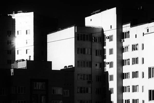 Photograph - Buildings At Dawn In Monochrome by John Williams