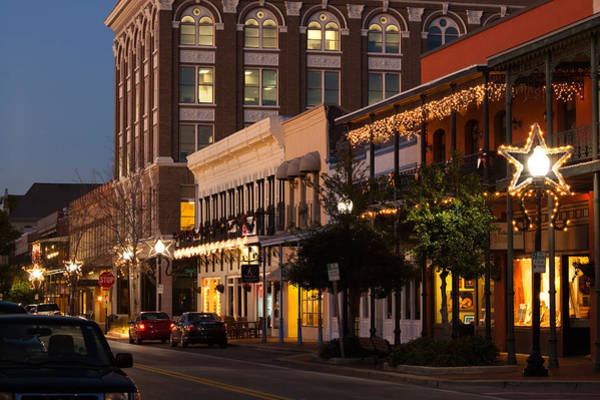 Pensacola Photograph - Buildings Lit Up At Dusk, Palafox by Panoramic Images