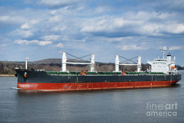 Photograph - Bulk Carrier Cargo Ship Sailing On River by Olivier Le Queinec