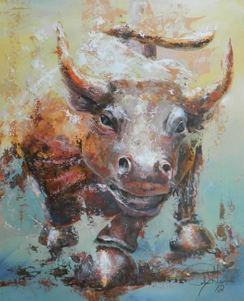 Wall Art - Painting - Bull Market Y Portrait by John Henne