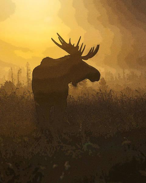 Antlers Digital Art - Bull Moose In Fog- Abstract by Tim Grams