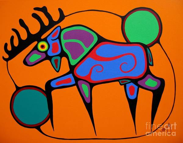 Shaman Wall Art - Painting - Bull Moose by Jim Oskineegish