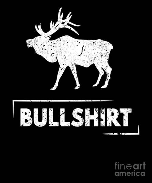 Ironic Digital Art - Bull Shirt Elk Silhouette Funny Puns Silly Humor by Henry B