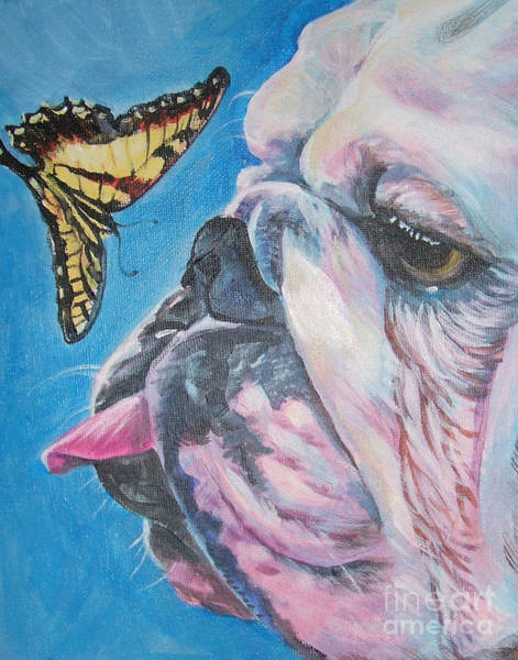Bulldog Painting - Bulldog And Butterfly by Lee Ann Shepard