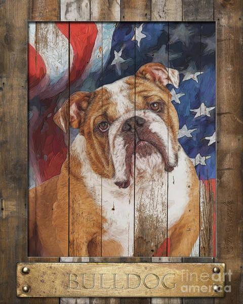 Digital Art - Bulldog  Flag Poster by Tim Wemple