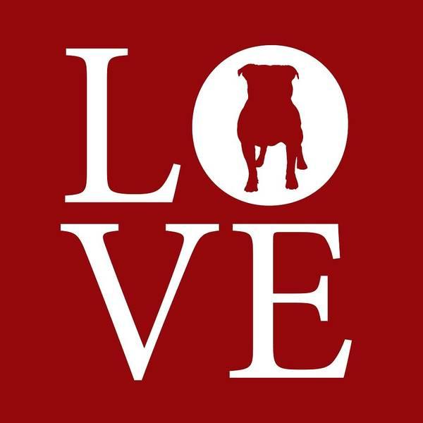 Digital Art - Bulldog Love Red by Nancy Ingersoll