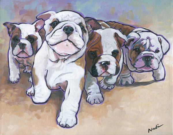 Bully Painting - Bulldog Puppies by Nadi Spencer