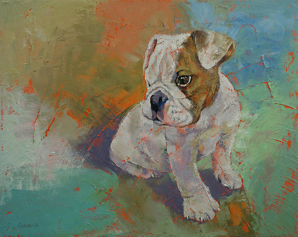 Pup Painting - Bulldog Puppy by Michael Creese