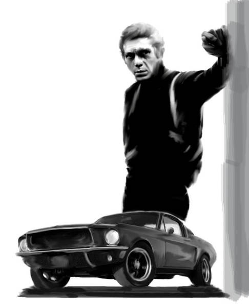Painting - Bullitt Cool  Steve Mcqueen by Iconic Images Art Gallery David Pucciarelli