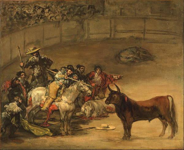 Spanish Wine Painting - Bullfight, Suerte De Varas 1824 by Francisco Goya