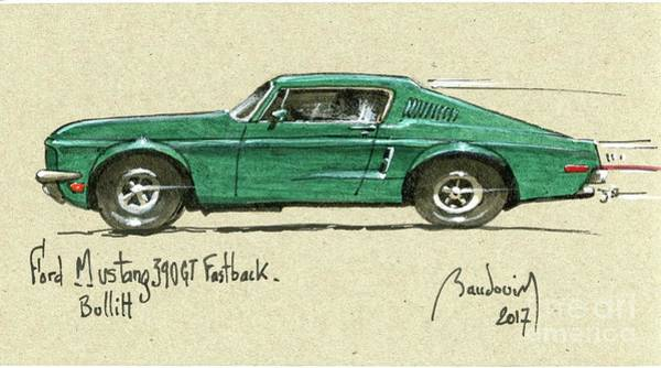 Le Mans 24 Painting - Bullitt Ford Mustang Fastback 1968 #2 by Alain Baudouin