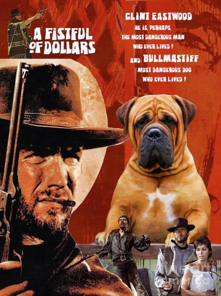 Wall Art - Painting - Bullmastiff Art Canvas Print - A Fistful Of Dollars Movie Poster by Sandra Sij