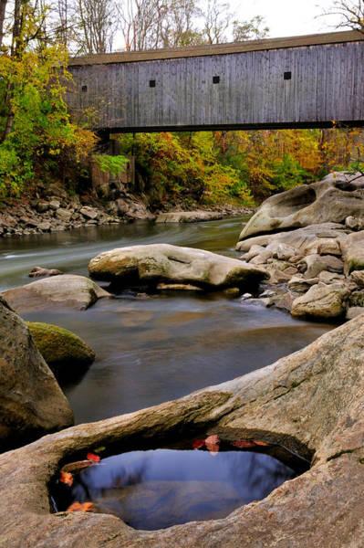 Covered Bridge Photograph - Bulls Bridge - Autumn Scene by T-S Fine Art Landscape Photography